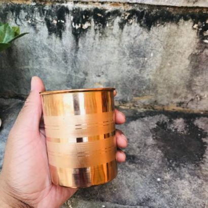 Set of 2 TipC 100% Cooper made tumbler, drinking glass, pure cooper made,Luxury Design, Capacity 300 ML, Traditional pure copper drink ware