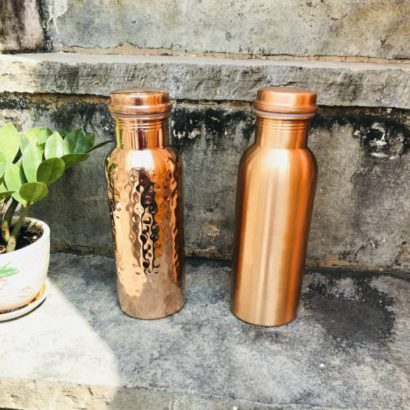 Pack of 2 TipC 100% Cooper made Bottle, Water bottle, pure cooper made,Luxury Design, Capacity 900 ML, Traditional pure copper drink ware