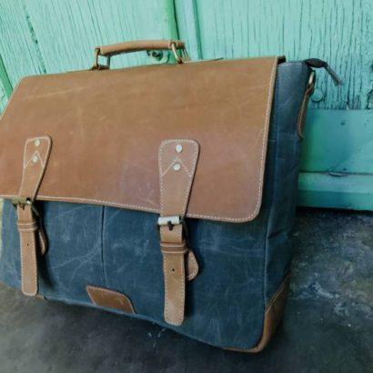 Personalized Wax Canvas Leather Messenger Shoulder Laptop Bag, Office Work Briefcase, Satchel, Best Gift for Men and Women, Vintage Bag