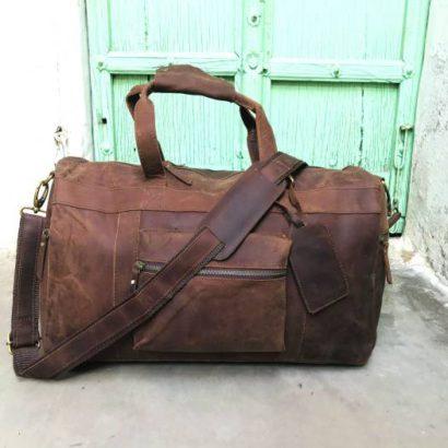 20″ Handmade Buffalo Leather Duffel Bag, Travel, Gym, Weekender, Overnight, Luggage Bag For Men and Women Vintage