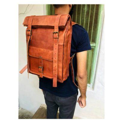 Personalized Vintage Genuine Leather Large Backpack for Laptop, Travel Roll Top Rucksack, Best Gift For Men & Women Vintage backpack