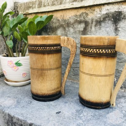 Set of 2 Bamboo made Bamboo Cup Mug Used to Drink Coffee, Tea, Water, Juice, Beer. Healthy hygienic eco-Friendly & Biodegradable
