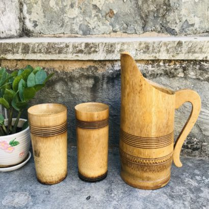 Bamboo made Water jugs, glass for Dining Table, The Best Natural Drinking Pot Ever. Healthy hygienic eco-Friendly & Biodegradable