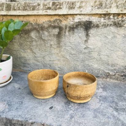 Set of 2 TipC 100% Bamboo made Bamboo Bowl soup, ice cream serving, Salad Serving Bowl Healthy hygienic eco-Friendly & Biodegradable