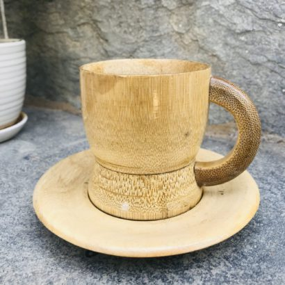 Set of 2 Bamboo made Bamboo cups and saucer, tea serving cups, coffee Serving cups Healthy hygienic eco-Friendly & Biodegradable