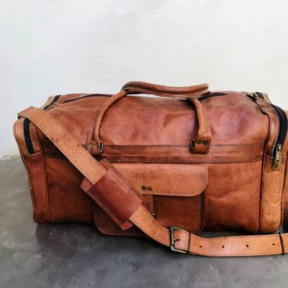 Personalized Handmade Goat Square Leather Duffel Bag, Travel, Weekender, Gym Bag, Best Gift For Men and Women