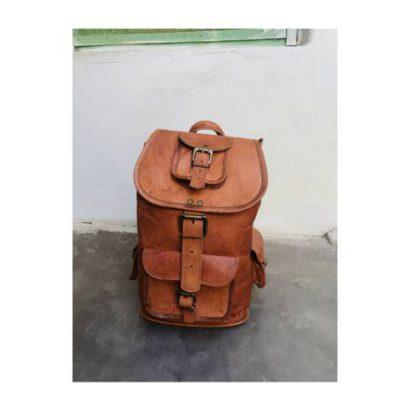 Personalized Genuine Goat Leather Handmade Backpack, Rucksack, Travel Vacation Bag, Picnic College School Mini Bag For Men & Women