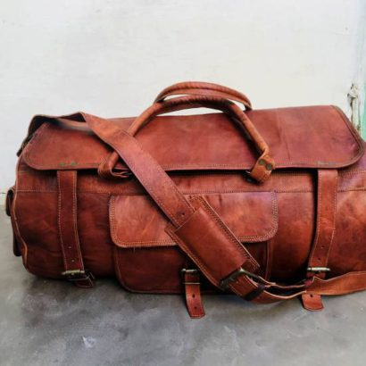 Personalised Handmade Round Goat Leather Duffel Bag, Overnight Weekender, Gym Bag For Men and Women
