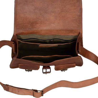 13″ Handmade Goat Original Genuine Vintage Brown Leather Purse, Handbag,Satchel With 2 Front Pockets,Best Gift For Women tote bag saddle bag