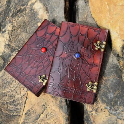 PACK OF 2 Personalised Spiderman Goat Leather Journal, Leather Notebook, Refillable Diary, Journal With Stone & Lock, Newspaper, Best Gift