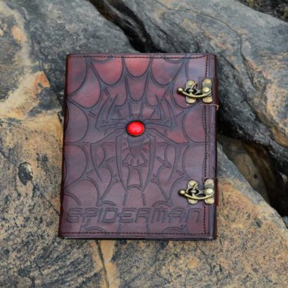 Personalised Spiderman Handmade Leather Journal, Leather Sketchbook, Refill Diary, Journal Cover With Stone & Lock, Father's Day Gifts