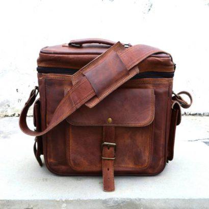 14″ Vintage Padded Brown Leather Messenger Shoulder Travel Camera Case, DSLR Sony Nikon Cannon Photography Bag Best Gift For Men & Women