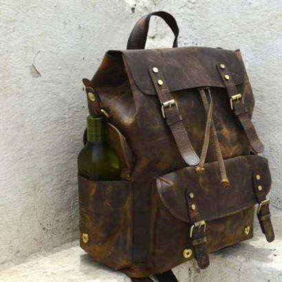 18″ Personalized Handmade Large Leather Backpack, Travel Rucksack, Weekend Bag For Men & Women Best Gift vintage backpack gift for men