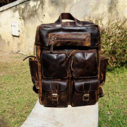 17″ Personalized Handmade Buffalo Leather Large Backpack, Travel Rucksack, Hiking Backpack For Men and Women Vintage backpack gift for men