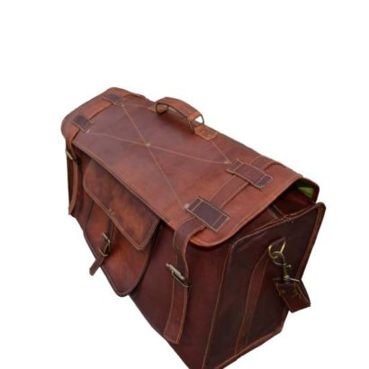 Personalized Handmade Goat Leather Flap Duffel Bag, Travel, Gym, Overnight Weekender Bag For Men and Women Best Gift