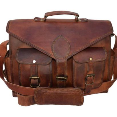 16″ Personalized Handmade Convertible Goat Leather Messenger Bag, Office Briefcase, Laptop Bag Cum Backpack For Men and Women Best Gift