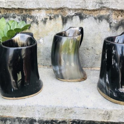 Pack of 3 Viking Buffalo Drinking Horn Mug, Drinking Tankard, Medieval Ale Horn Cup, Groomsmen Gift, Wedding Gift, Game of Thrones Horn Mug