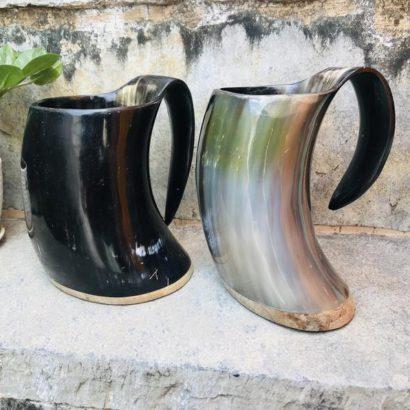 Pack of 2 Viking Buffalo Drinking Horn Mug, Drinking Tankard, Medieval Ale Horn Cup, Groomsmen Gift, Wedding Gift, Game of Thrones Horn Mug