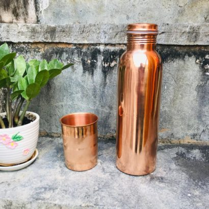 Combo TipC 100% Cooper made Bottle & Glass, Water bottle and glass, pure cooper made,Luxury Design, Capacity 1200 ML, pure copper drink ware
