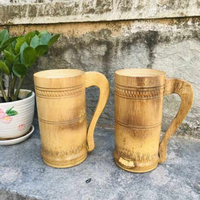 Set of 2 TipC 100% Bamboo made Bamboo Cup Mug Used to Drink Coffee, Tea, Water, Juice, Beer. Healthy hygienic eco-Friendly & Biodegradable