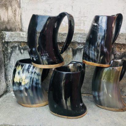 Pack of 5 Viking Buffalo Drinking Horn Mug, Drinking Tankard, Medieval Ale Horn Cup, Groomsmen Gift, Wedding Gift, Game of Thrones Horn Mug