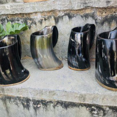 Pack of 4 Viking Buffalo Drinking Horn Mug, Drinking Tankard, Medieval Ale Horn Cup, Groomsmen Gift, Wedding Gift, Game of Thrones Horn Mug