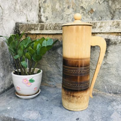 TipC 100% Bamboo made Water jugs, glass for Dining Table, The Best Natural Drinking Pot Ever. Healthy hygienic eco-Friendly & Biodegradable