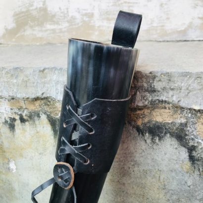 Viking Buffalo Drinking Horn with leather holster , Drinking Tankard, Medieval Ale Horn, Groomsmen gift, Wedding Gift, Game of Thrones Horn