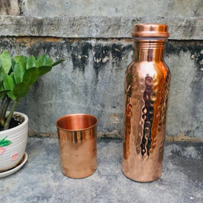 Combo TipC 100% Cooper made Bottle & Glass, Water bottle and glass, pure cooper made,Luxury Design, Capacity 900 ML, pure copper drink ware