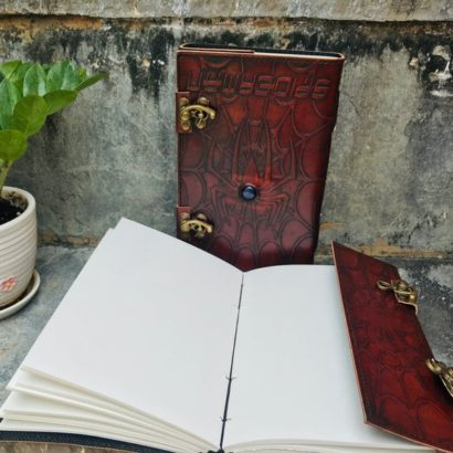 PACK OF 2 Leather Journal, Travel Diary, Leather Notebook, Refillable Diary, Journal With Stone Lock, Newspaper, Best Valentine Gift